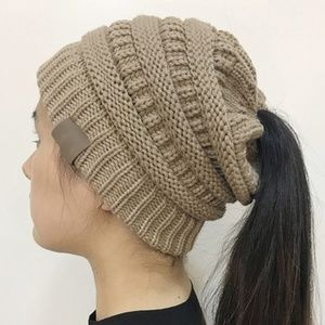 Khaki Knitted Pony Tail Hat